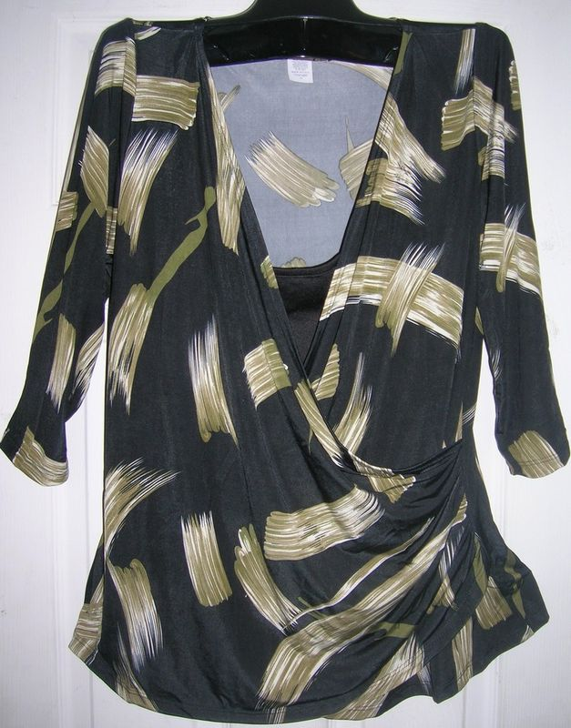 NEW WOMEN LADIES WRAP TOP SZ XL- FAUX WRAP SHIRT SHIRT