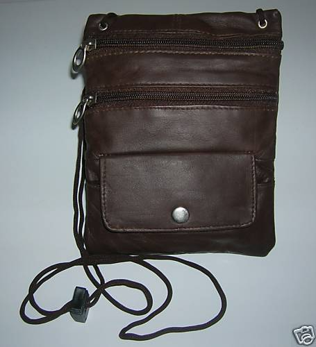NEW WOMENS BROWN LEATHER ZIPPERED PURSE FREE SHIPPING