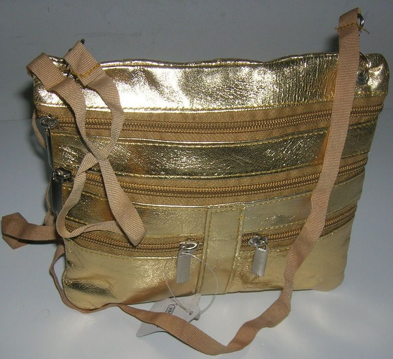 NEW WOMEN'S/LADY GOLD LEATHER NECK PURSE BAG GIFT IDEA