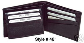 New!Men's Leather Bi-fold Money bill and wallet(Black)