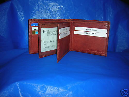 New brown Bi-fold GENUINE leather Wallet  HOLIDAY GIFT