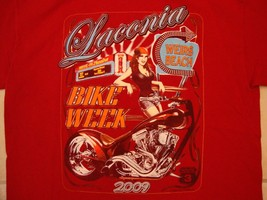 Weirs Beach Laconia Bike Week 2009 Motorcycle Rally Red T Shirt M - $17.71