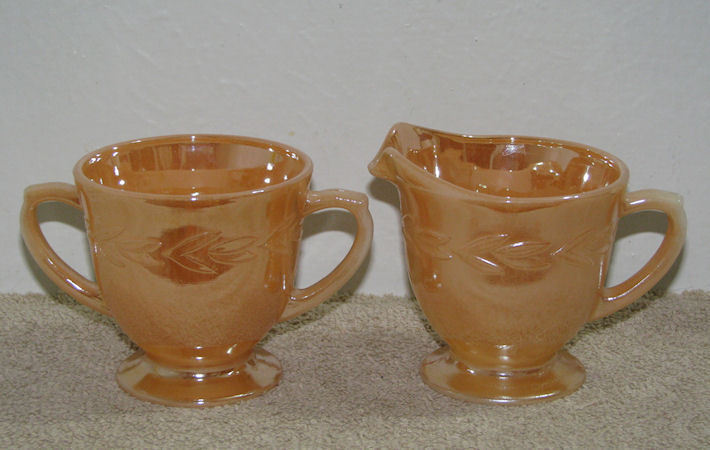 Primary image for Fire King Peach Lustre Luster Laurel Sugar & Creamer Set