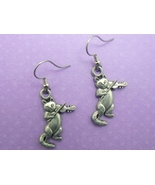 Cat and Fiddle Earrings - Silver Toned Pewter (SP) - $6.95