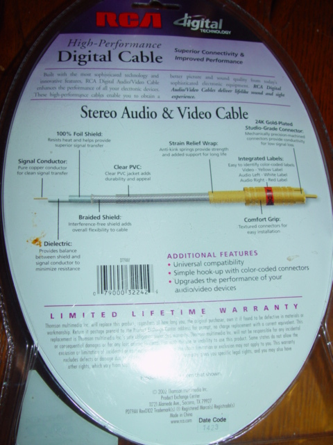 RCA High-Performance Digital Stereo Audio & Video Cable 9FT 24kGold Plated DT9AV