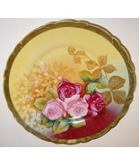 Antique Hand Painted ROSES Germany Porcelain Plate, Signed  - $10.00