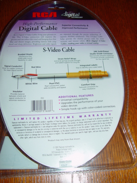 RCA High-Performance Digital Cable 6FT Digital S-Video Cable 24kGold Plated DT6S
