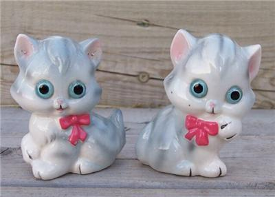 Vintage Japan Striped Grey and White Kittens Salt n Pepper Set