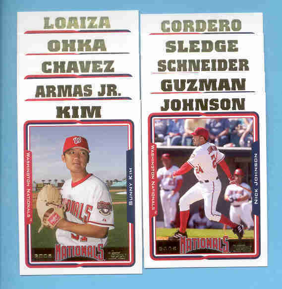 2005 Topps Washington Nationals Baseball Team Set
