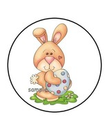 """30 CUTE EASTER BUNNY WITH EGG ENVELOPE SEALS LABELS STICKERS 1.5"""" ROUND ... - $4.99"""