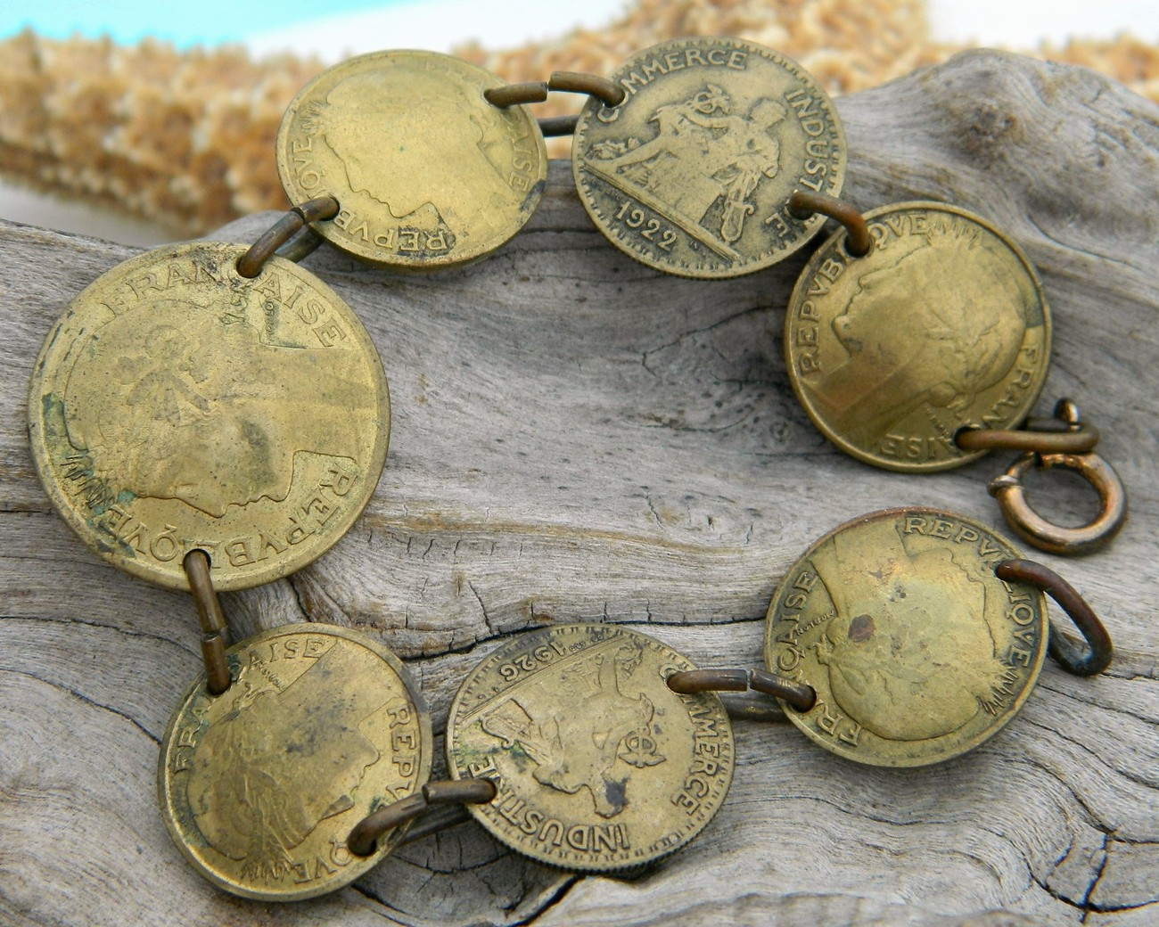 Primary image for Vintage Coin Bracelet France Bronze Centimes Bon Pour 1940s