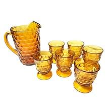 Vintage midcentury amber colored glassware pitcher set - $65.00