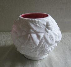 LG Wright/Fenton -Peach Blow 'Embossed Roses' Rose Bowl - $35.00