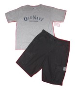 Old Navy Gray Tee Shirt Sz L  and Black Cargo Shorts Sz 12  - $8.99