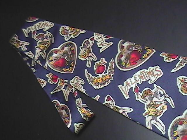 Metropolitan Museum Masterworks Neck Tie Cupid and Valentines on Blue Background