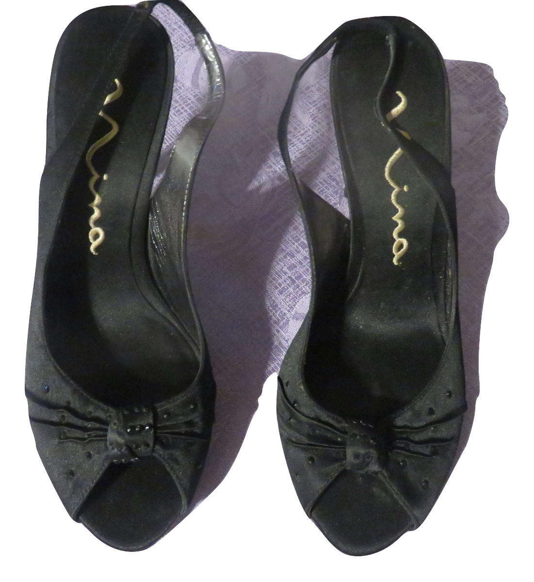 628aa97739 Nina Black Satan Heels With Black Rhinestone and 16 similar items