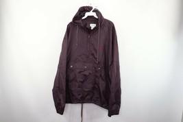 Vintage 80s Izod Mens XL Spell Out Hooded Windbreaker Anorak Jacket Purp... - $49.45