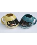 Nascar Helmet Mug Mugs Set of 2 Blue Yellow - $9.95
