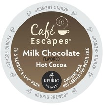 Café Escapes Milk Chocolate Hot Cocoa 24 to 96 K cups Pick Any Size FREE... - $21.99+