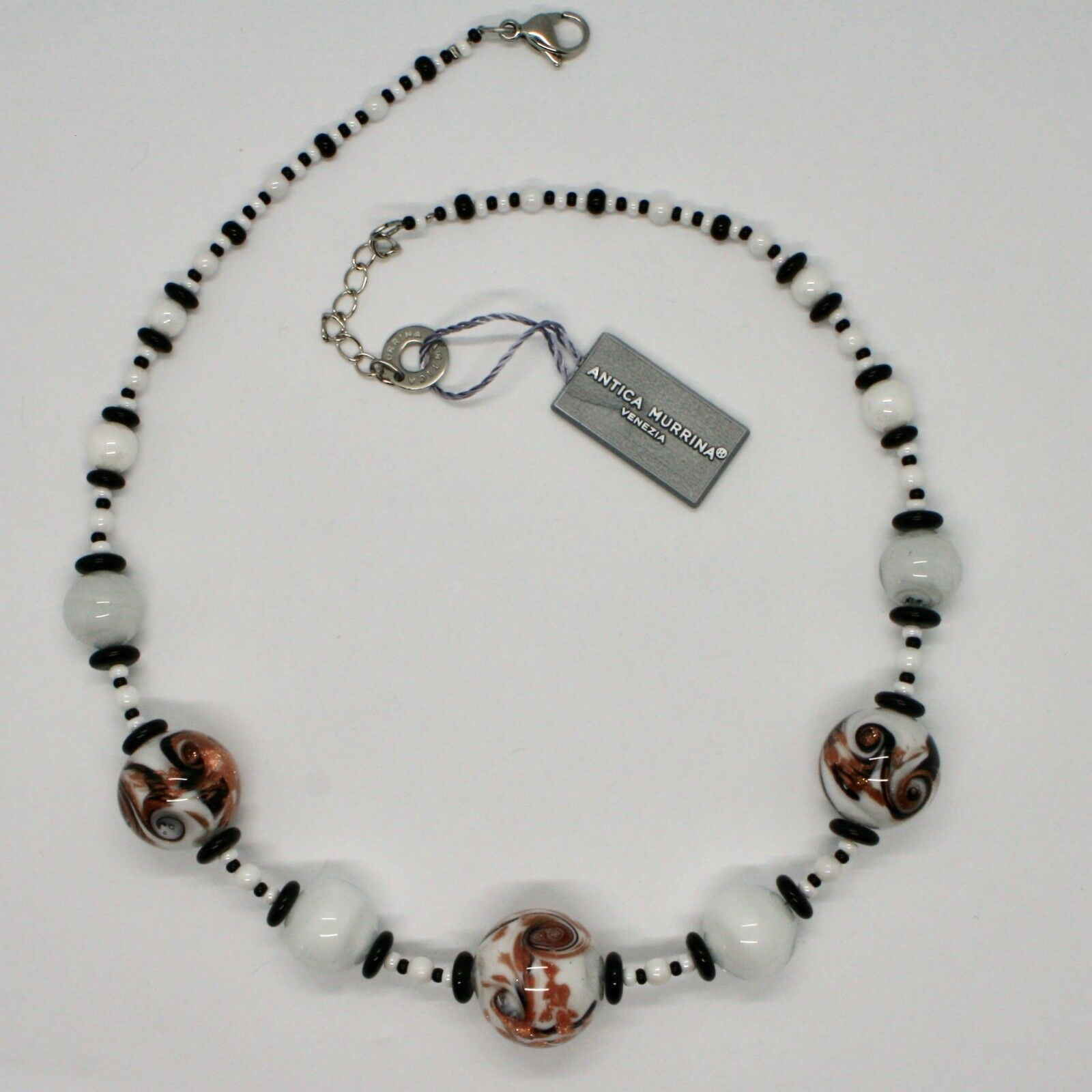 Necklace Antica Murrina Venezia with Murano Glass Black White Orange Coa89a15