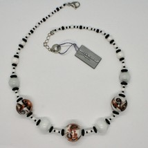 Necklace Antica Murrina Venezia with Murano Glass Black White Orange Coa89a15 image 1