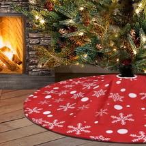 Pknoclan Snowflake Christmas Tree Skirt, Red and White Xmas Tree Skirts ... - $22.93