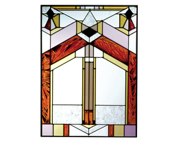 10x14 Stained Art Glass DECO-TECTURAL Window Suncatcher - $50.00