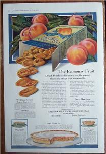 1919 Blue Ribbon Peaches Recipes & Color Vintage Large Page Ad