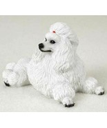 POODLE WHITE DOG Figurine Statue Hand Painted Resin Gift Pet Lovers - $19.99