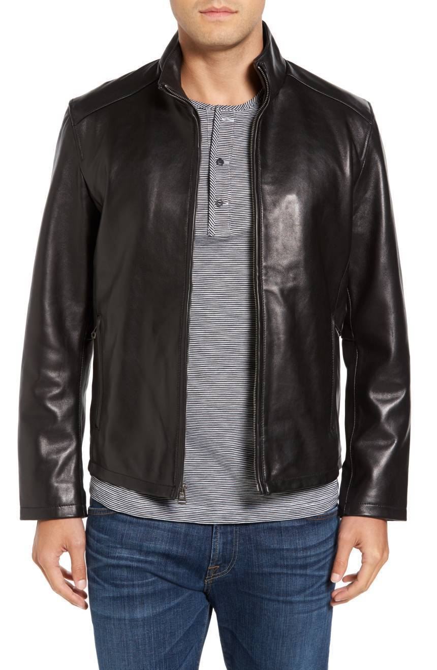 New Men's Genuine Lambskin Leather Jacket  Slim fit Biker Motorcycle jacket-G46