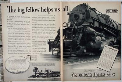 1937 Association of American Railroads Safety 2 page Ad