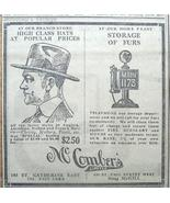 1917 McComber's Ltd. Hats, Ramsey's Paints Newspaper Ad - $5.00