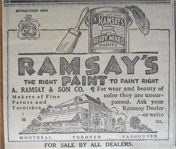 1917 McComber's Ltd. Hats, Ramsey's Paints Newspaper Ad