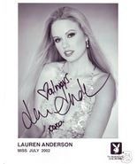 Lauren Anderson hand signed Playboy playmate promo photo - $35.00