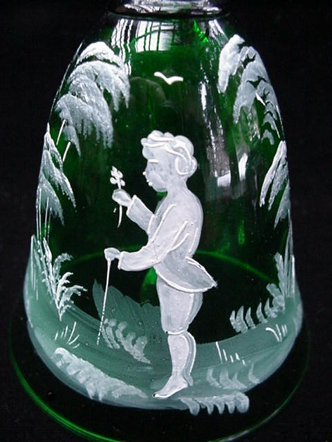 Old Mary Gregory Painted Emerald Green Crystal Glass Bell
