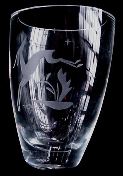 Old Deco Kosta Boda Orrefors Type Crystal Vase W/ Gazelle