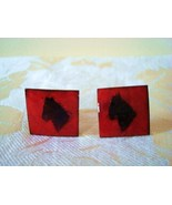 Vintage Copper Enamel Cuff Links ~ Red ~ Black Abstract Hors - $7.50