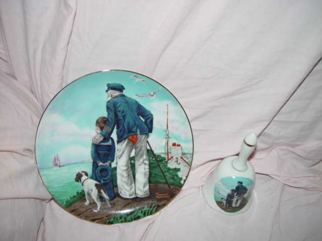 Norman Rockwell's Looking Out To Sea Plate & Bell Set