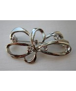 SILVER RHINESTONE RIBBON Pin New #457 - $8.99