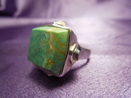 Barse Green Moss Agate and Quartz Crown Ring Sterling Silver Thailand Si... - $40.10