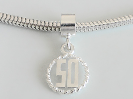 50th Birthday 3D Number 50 Sterling Silver Charm Fits All Slide On Bracelets - $19.95