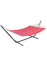 "Northlight 59"" x 78"" Red, Yellow and Pink Striped Poly Cotton Hammock - $68.05"