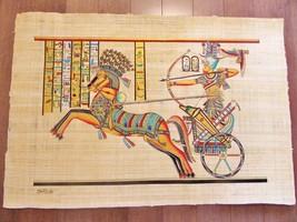 XXL Huge Signed Handmade Papyrus Egyptian King Ramses II Art Painting..3... - $74.25