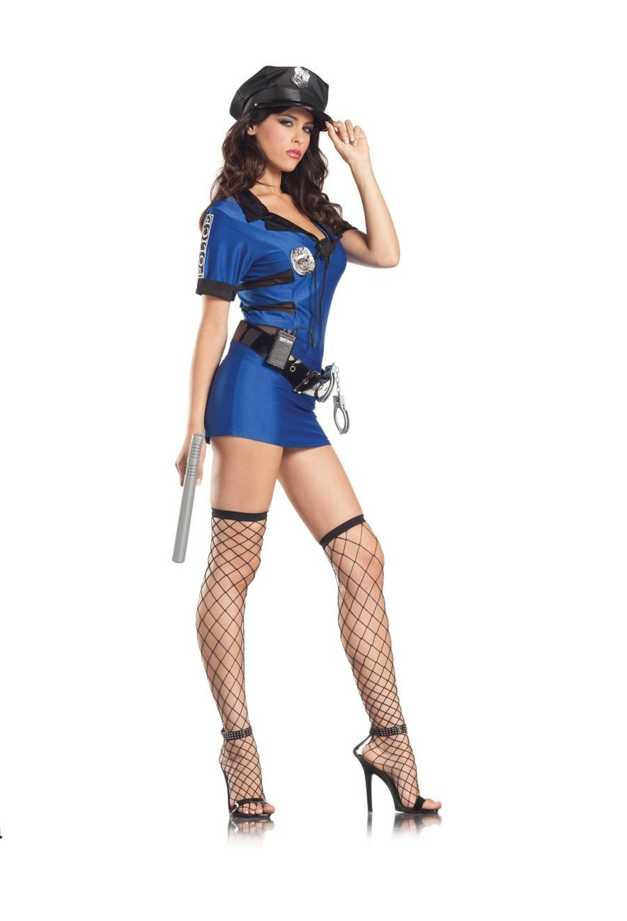 Sexy Blue 7pc Policewoman Cop Adult Halloween Costume
