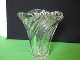"Elegant Art Glass Mikasa Crystal Swirl Belle Epogue 8 3/8"" Vase Made in ... - $54.99"