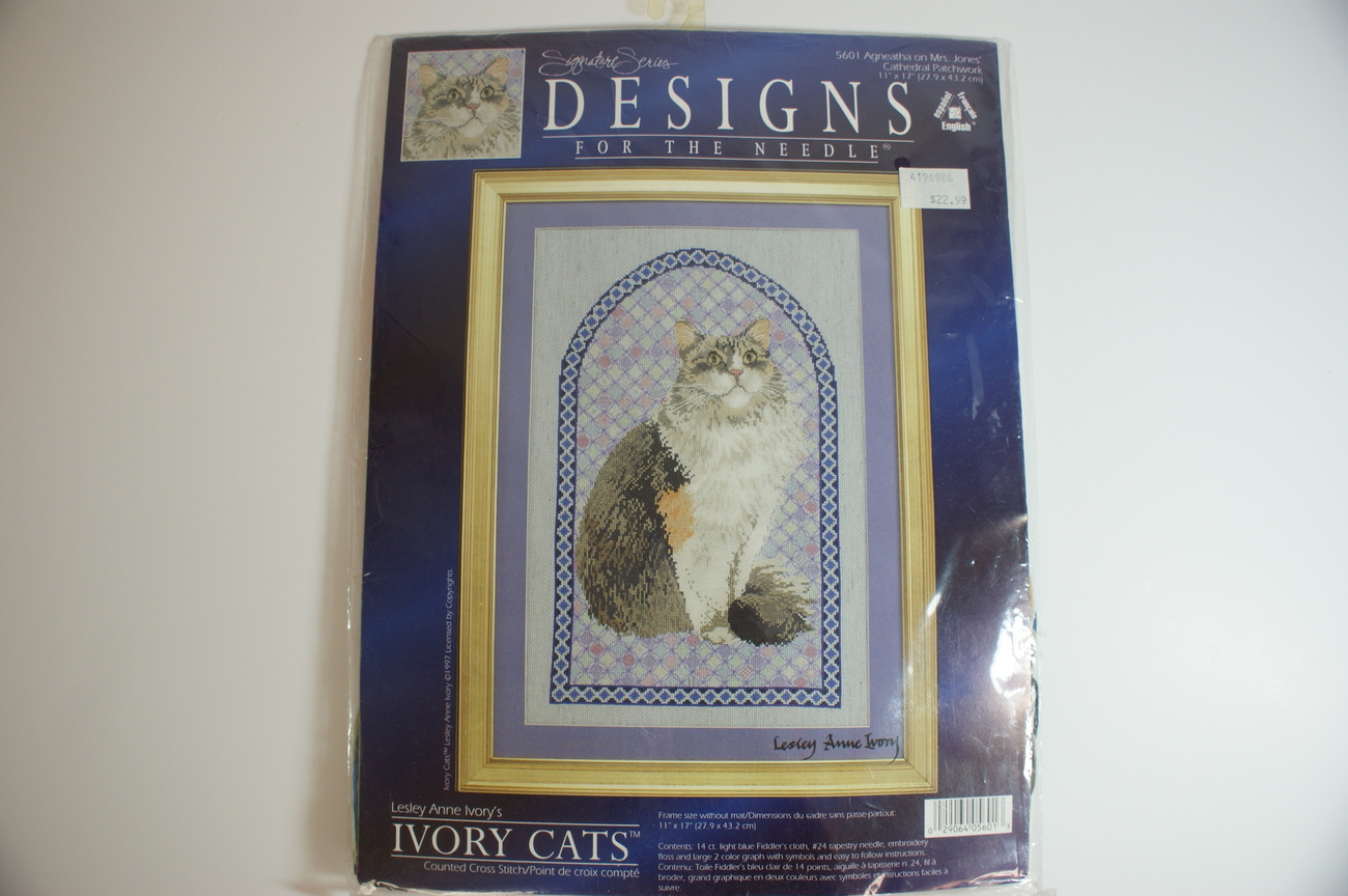 Cross Stitch Cat Kit Lesley Ivory Agneatha Cat Complete NIP!