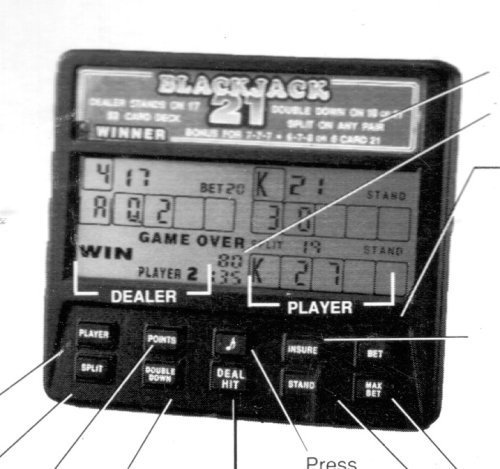 Radica Handheld Video Blackjack 21 - 1 or 2 Player