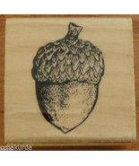 Acorn Fall Autumn Rubber Stamp NEW Holiday Craftsmart Wood Mount - $3.00