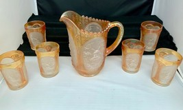 Imperial Glass Marigold Frosted oval Windmill Water Set Includes Pitcher... - $149.00