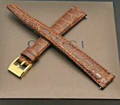 New Gucci 14 MM Brown Alligator Pattern on Genuine Leather Watch Band (1... - $29.95